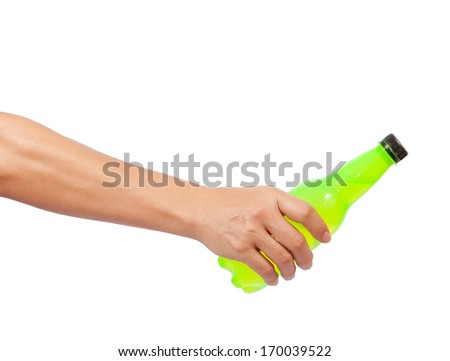 hand giving bottle isolated on white - stock photo
