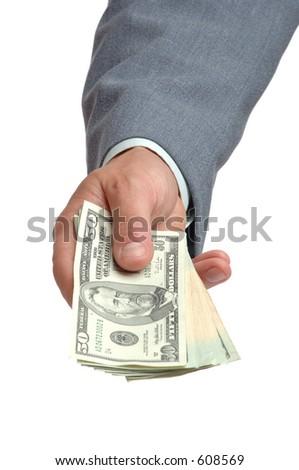 hand giving money - stock photo
