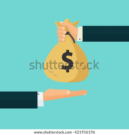 Hand giving money bag to another hand, payment, credit, loan, banking poster illustration isolated on blue background, cartoon flat design image - stock photo