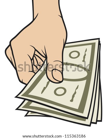 hand giving money (hand with money, hand holding banknotes, money in the hand) - stock photo