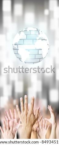 Hand grab virtual world - stock photo