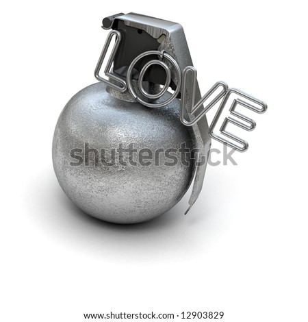 Hand grenade with the word love instead of a ring
