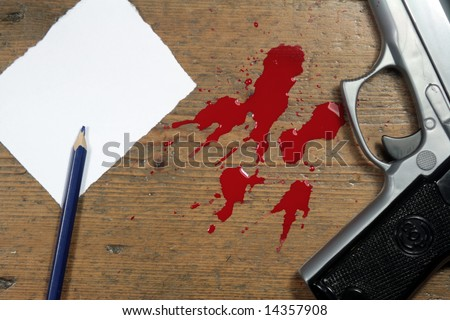 Hand gun and blood splatter, on wooden floor with pencil and paper.Murder Scene - stock photo