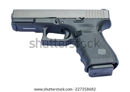 hand gun isolated - stock photo