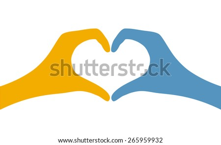 hand heart shape flat icon