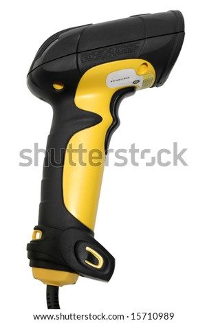Hand Held Bar code Scanner on White - stock photo