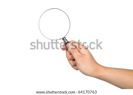 Hand-held magnifying glass in white background - stock photo
