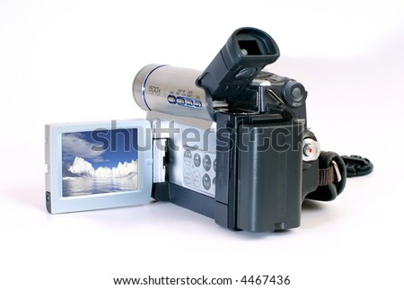 Hand-held portable video camera isolated over white , file contains clipping path