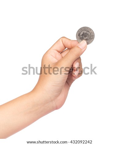 hand hold a coin isolated on white background - stock photo