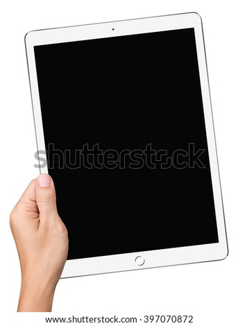 Hand Hold Big Tablet PC isolated on white background - stock photo