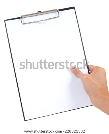 Hand hold black plastic clipboard with blank paper sheet isolated on white background - stock photo