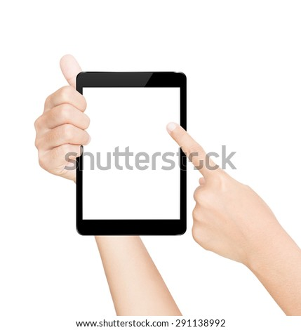hand hold black tablet screen isolated white with clipping path inside - stock photo