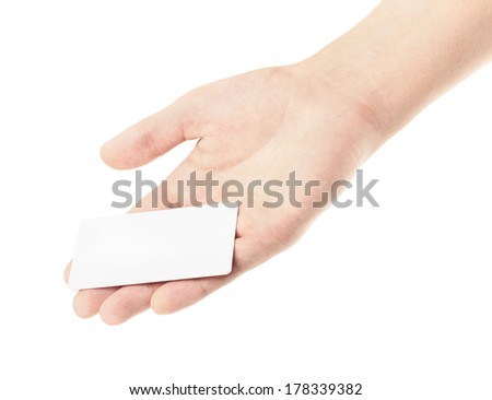 Hand hold blank business card, isolated