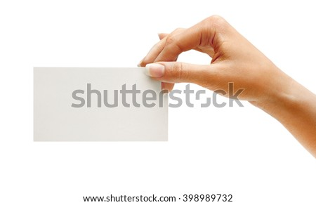 Hand hold blank business card isolated on white background. Close up - stock photo