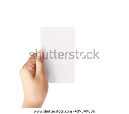 Hand hold blank card isolated