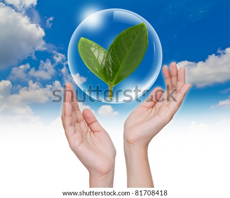 Hand hold Bubbles with green leaf inside in the sky - stock photo