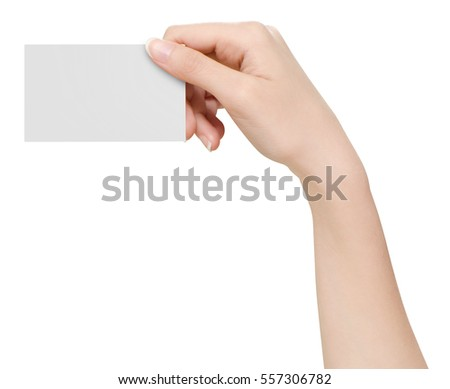 Hand hold business cards on white background