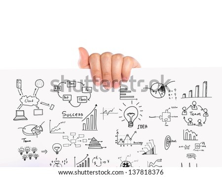 Hand hold Business concept and graph drawing on white paper - stock photo