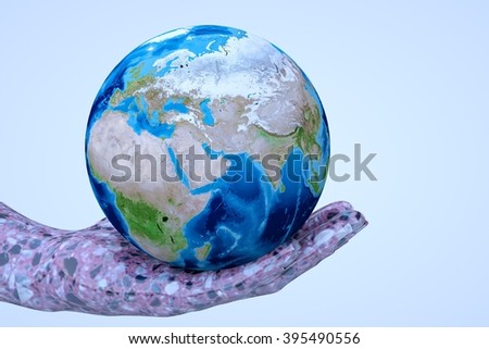 Hand hold Earth. Nice 3D Render  - stock photo