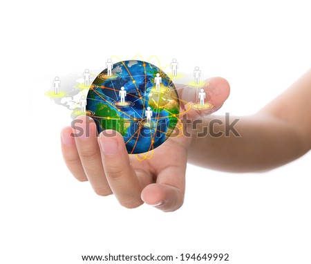 Hand hold earth of social network (Elements of this image furnished by NASA) - stock photo