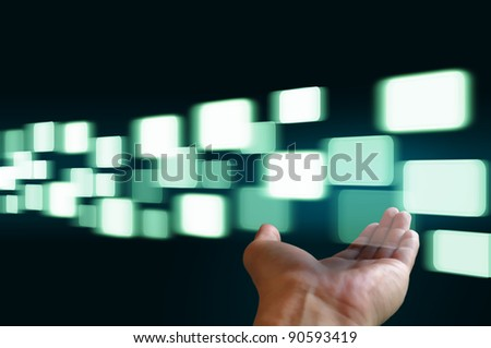 hand hold flying transparent button - stock photo