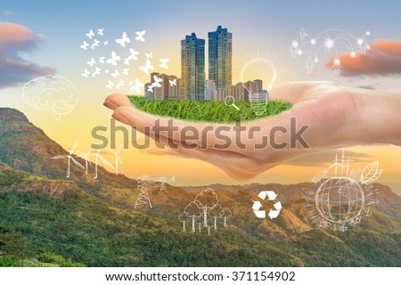 Hand hold green city, Save earth concept