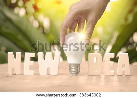 hand hold light blub with new idea text idea concept on sun ray background , business concept , business idea , business branding concept - stock photo