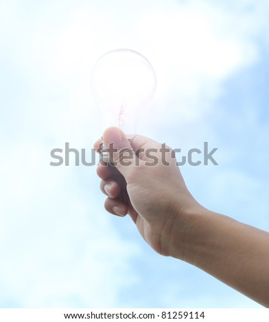 Hand hold light bulb