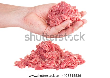 Hand hold minced meat isolated on white background - stock photo