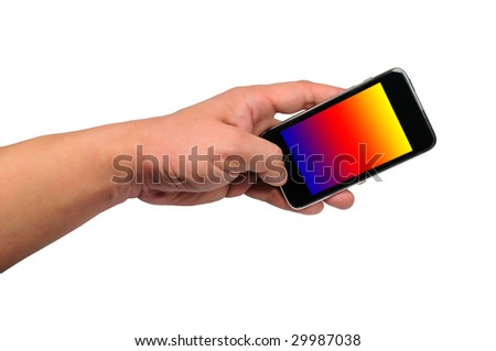 hand  hold mobile phone - stock photo