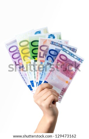 Hand hold money banknotes on white background