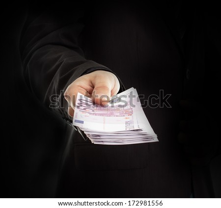 Hand hold  pack with  euro - stock photo