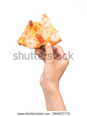 hand hold pizza isolate on white background - stock photo
