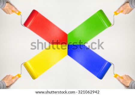 hand hold roll tool for painting or burnishing , finishing work, close up photo - stock photo