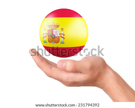 hand Hold spain flag icon. isolated on white bakground - stock photo