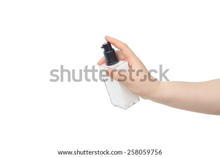 hand hold sqaure lotion bottle, isolated on white
