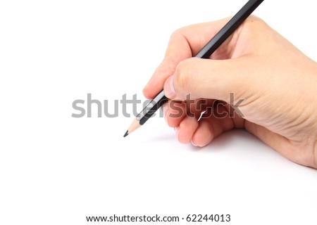 Hand holding a black pencil on white  background - stock photo