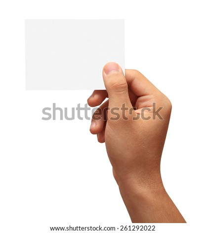Hand holding a blank business card in front of white background.Studio shot isolation on white.With clipping path - stock photo