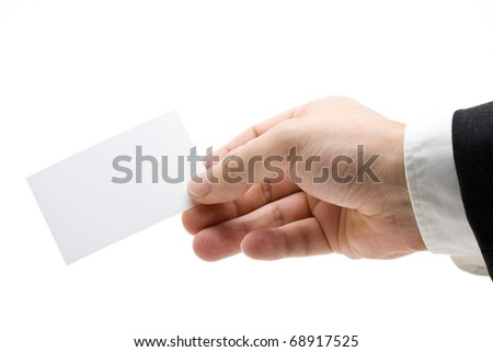 Hand holding a blank business card isolated on white background - stock photo