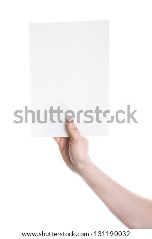 Hand holding a blank card isolated on white background - stock photo