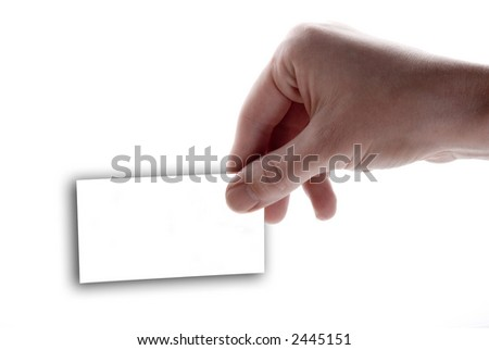 Hand holding a blank white card on a white background - stock photo