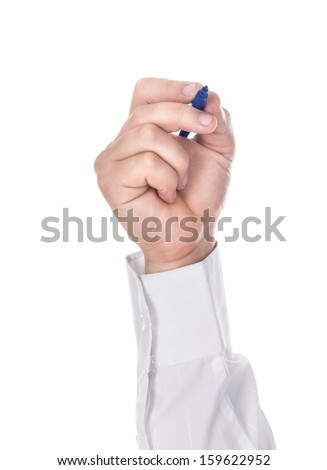 Hand holding a blue marker isolated on white with copy space. - stock photo