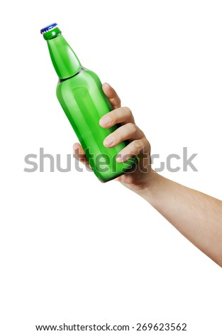 Hand holding a bottle. Template for the ability to use any brand label on a white background - stock photo