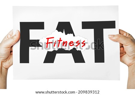 Hand holding a burning paper has FAT text in a middle and see Fitnesstext behind. Fat burn, Work out concept. - stock photo