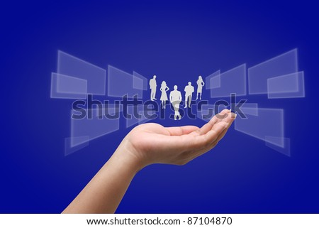Hand holding a business - stock photo