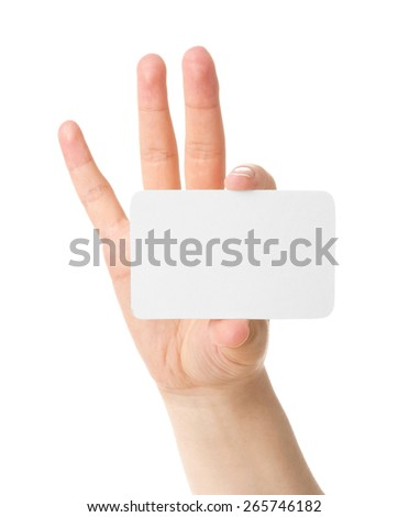 Hand holding a business card, isolated on white background - stock photo