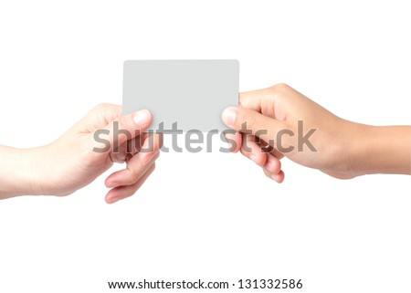 hand holding a business card on blue background - stock photo
