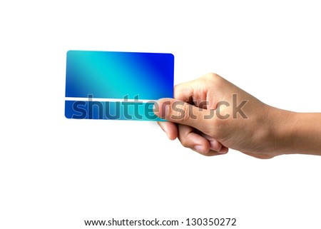 hand holding a business card on white background - stock photo