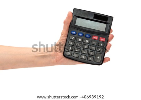 Hand holding a calculator isolated on white