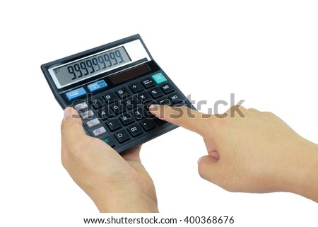 Hand holding a calculator on white background